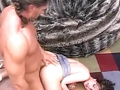 Pretty brunette wearing a miniskirt gets her pussy smashed