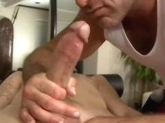 Gay handjob during massage
