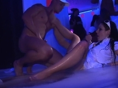 Horny pornstars Christina Lee, Carmen Blue and Leony Dark in amazing big tits, group sex porn video