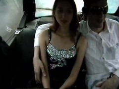 Cumshot on tits caught by voyeur cam in the taxi