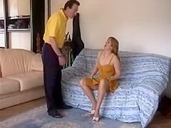 French mature in nylons gets her holes stuffed