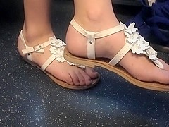 Candid blonde feet on train 6