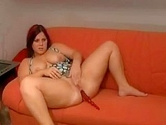 Fat Chubby Teen can't stop masturbating on her daybed