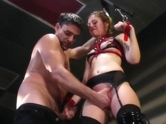 Bound Bdsm Sub Fingered While In Stockings