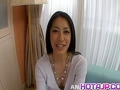 Kyoka Ishiguro with hairy snatch offers good handjob and headjob
