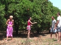 Margo & Aspen & Jocelyn in hot babe gives head in an outdoor sex scene