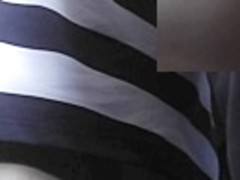 Hotty in striped suit delightsome upskirt