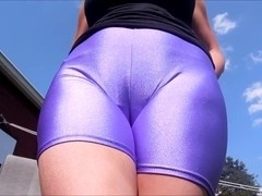Spandex Angel - Sexy purple spandex shorts