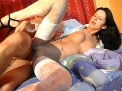 Ester & Yalena & Yulia & Zlata in hot college sex scene with a lusty bimbo