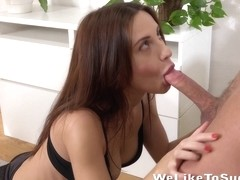 Cum In Mouth - Brunette Lana takes a mouthful after sucking her man dry