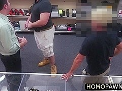 Desperate hairy thief sucked two ### cocks in the pawnshop