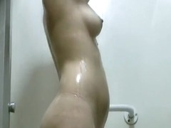 Pierced nipple showering caught by spy cam