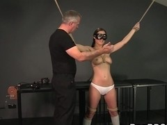 Tied up slave gets cunt vibrated and gagged