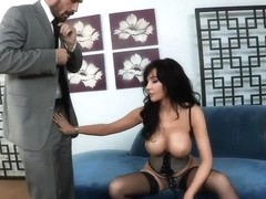 Hot deep throat blowjob by experienced brunette curve