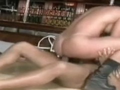 Tight brunette babe gives her hot Latin holes to a hung bartender