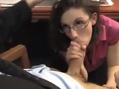 Secretary fucks two. Double penetration.