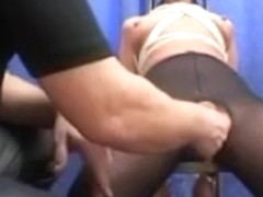 Tied up and blindfolded german hottie fisted