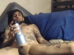 sexy Jerk Off in bed with fleshlight. 3rd load od day