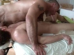 Hunky guy gets oiled up and gay massaged part2