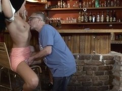DADDY4K. Old dad seduces beautiful brunette while son left them alone