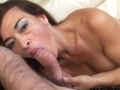 Latin lady is sucking her step- sons hard dick and getting it from the back