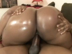 Voluptuous caramel cougar Flame fucks a black shaft every way she can