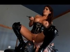 Amazing busty brunette plays a wicked femdom game