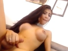 Dazzling Shemale Angel With A Hot Pair Of Titties Masturbating On Webcam