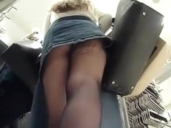 Blonde wearing black tights upskirted
