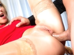 Sexy Blonde Jenny in a Red Dress Gets Fucked at a Company Party - Private