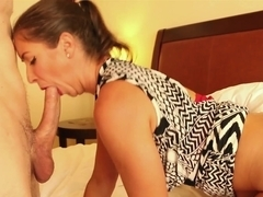 Fat ass ponytail brunette babe Sabien Rose takes a big cock