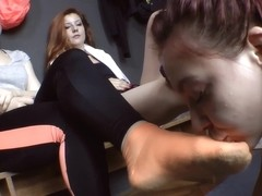Slave girl worships sweaty feet