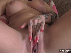 Tattooed busty model anal fucks in casting