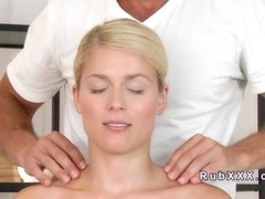 Masseur licks ass to sexy blonde in massage room