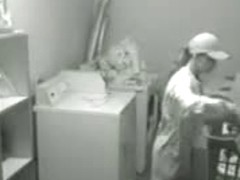 Lesbian cuties caught having sex on a laundry room spy cam