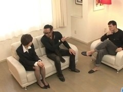 Naughty office threesome along Akina Hara