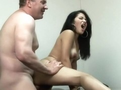 Andrea Kelly gets nailed on the desk at work and then she licks his nuts