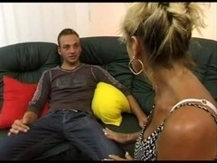 Renate Fucking and Squirting on Black Sofa BVR