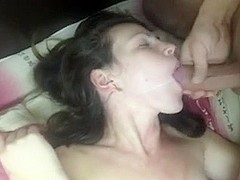 Girlfriend passionately takes cum in face hole