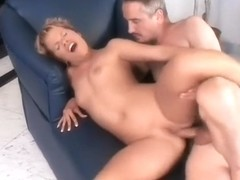 Wild blonde with small tits relishes every thrust of cock up her ass