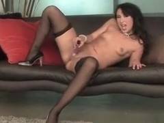 Sultry girl in black stockings Bianca Dagger takes care of her desires