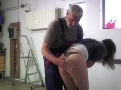 Superb babes in hot old young threesome fucking old man super hot