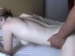 Slim and pale blonde gets smacked hardcore on the bed