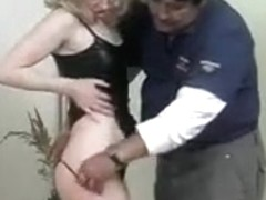 Fat dude fucks blonde MILF with banana