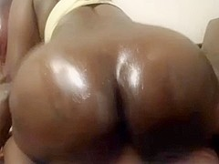 Black booty rides white rod on POV webcam (no sound)