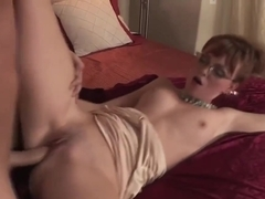 Experienced, red haired chick is getting her pussy ravaged, after she was sucking her partners cock