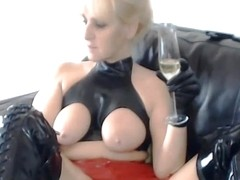 rubber bitch drinks her own piss